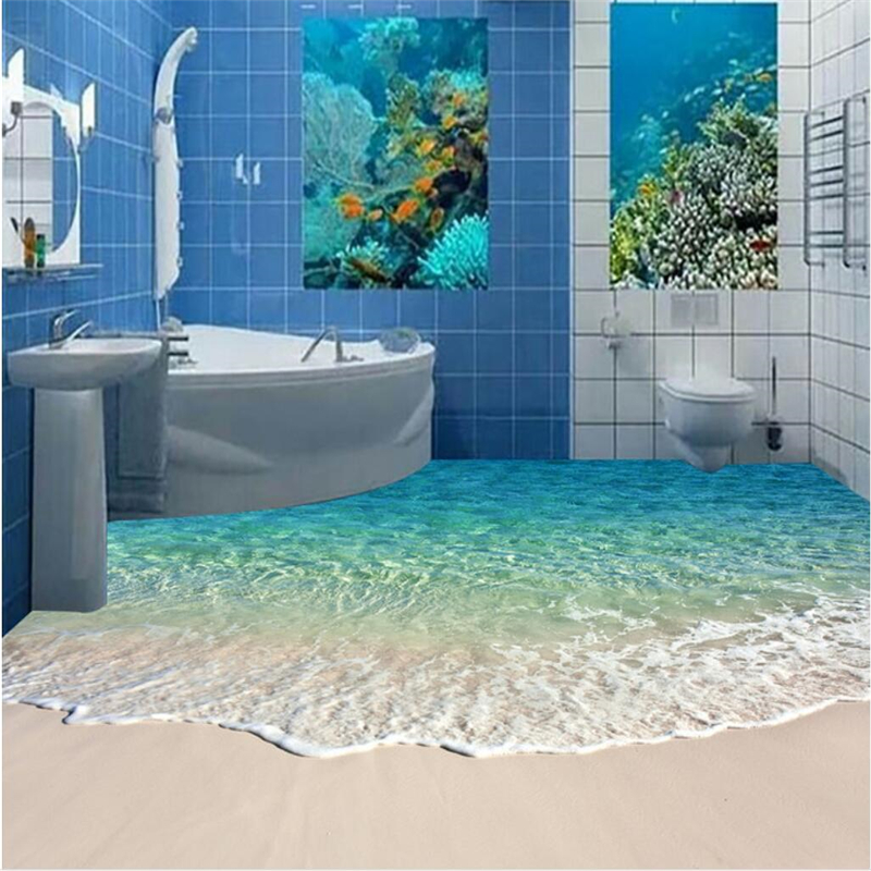 beibehang Custom Wallpaper Murals Any size photo 3D Ocean Wave Sea Water Beach Starfish Living Room Bathroom Floor Wallpaper beibehang custom photo floor painted