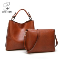 SEVEN SKIN 2017 New 2pcs Composite Bag Women Solid Leather Shoulder Bags Women S Casual Tote