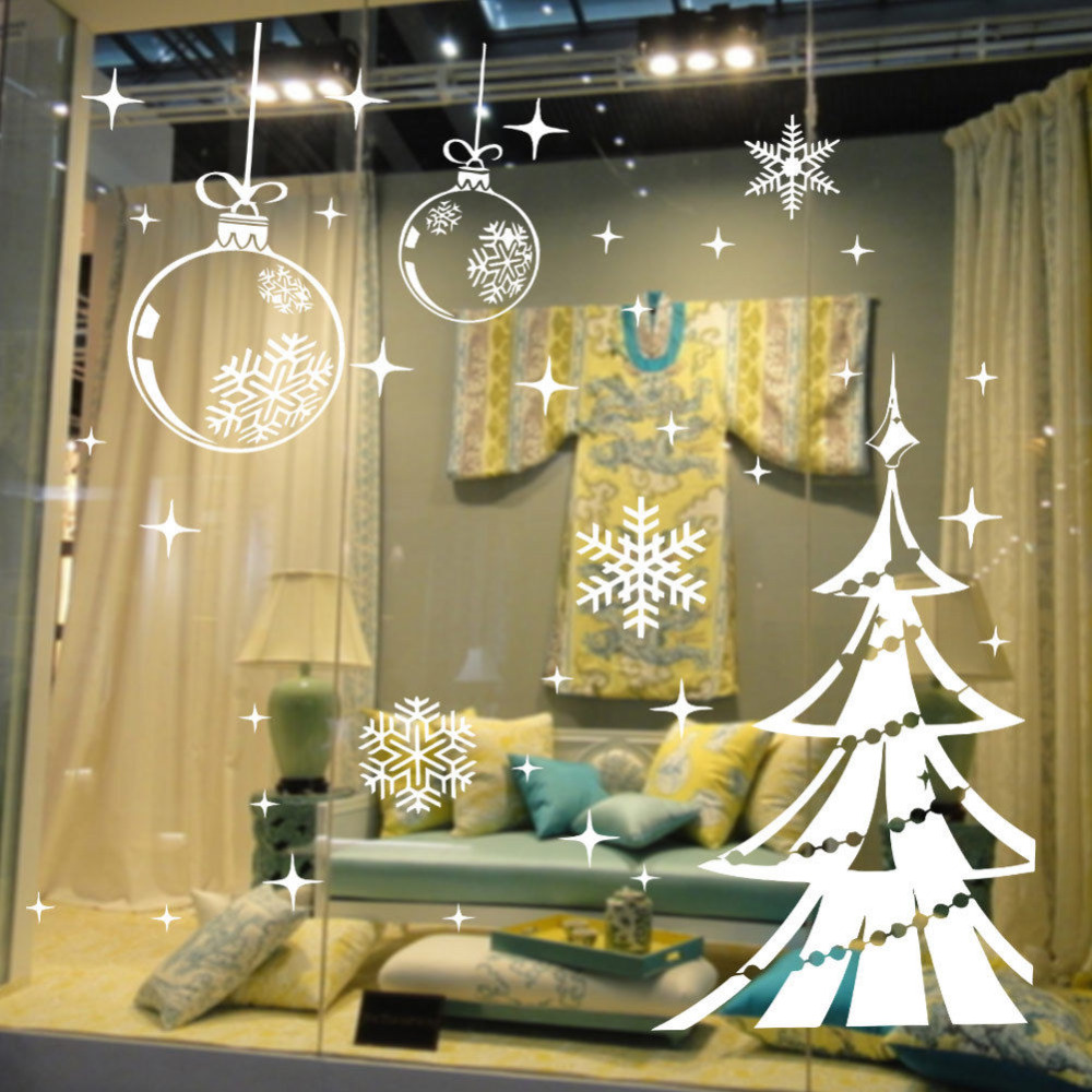 White Snowflake Vinyl Shop Window Decor Merry Christmas Tree Wall ...