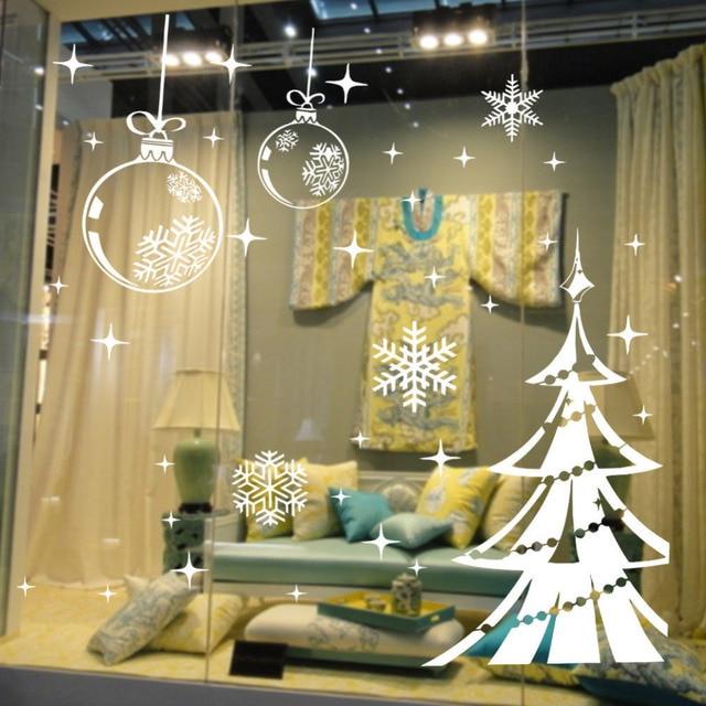 white snowflake vinyl shop window decor merry christmas tree wall stickers self adhesive decal home decoration - Merry Christmas Window Decorations