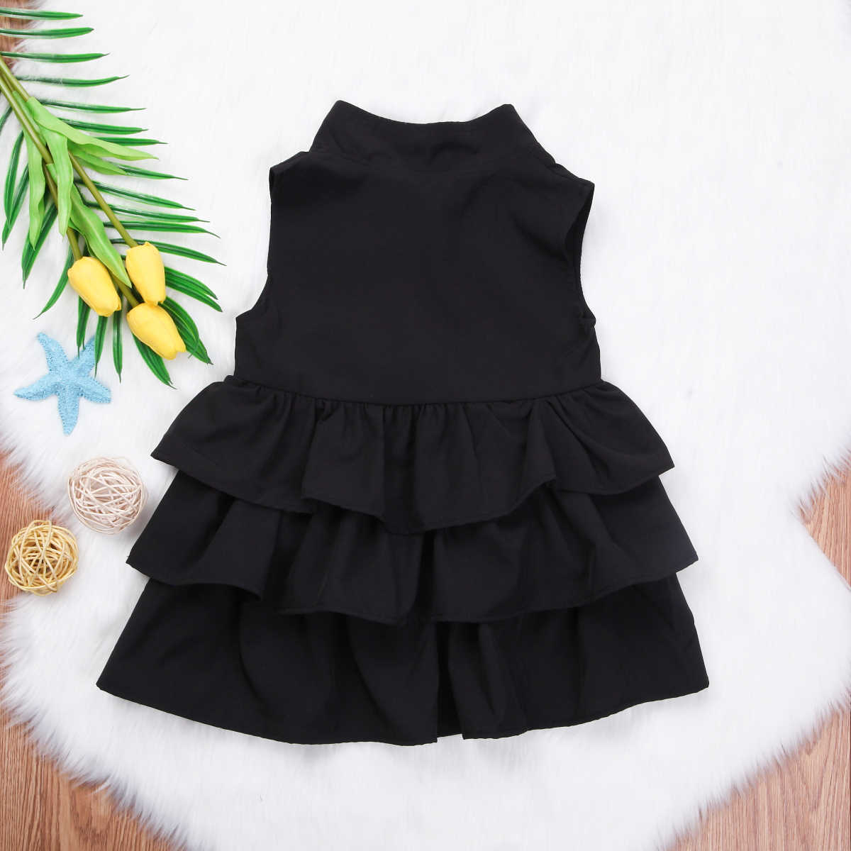 Cute Toddler Kids Baby Party Princess Ruffle Tutu Princess Formal Sleeveless Dress For Girls Clothes Mini Dresses