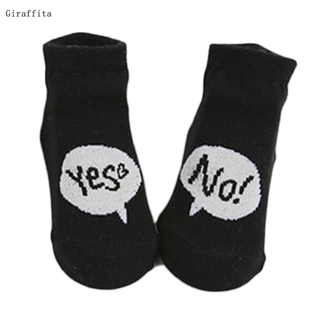 2018 Cute Yes No Letter Anti Slip Baby Socks Infant Cotton For