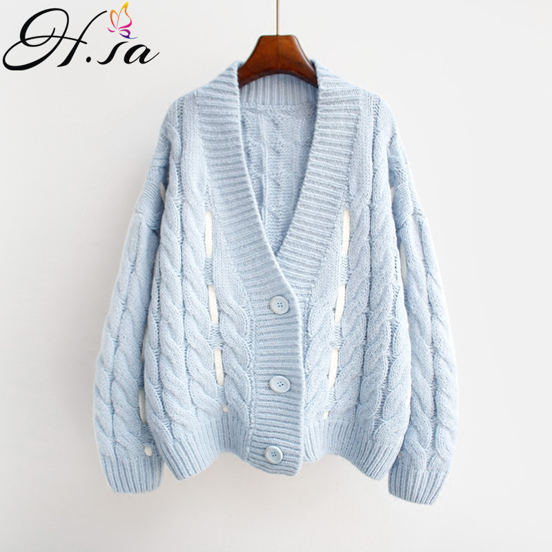 HSA Sweater Cardigan For Women Button Lace Up Knit Sweater Poncho 2018 Fall Fashion Hollow Out Sweater Cardigans Casaco Feminina