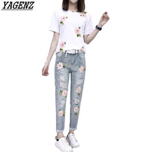 2017 Summer Women Embroidery Bead Sets Sportsing T shirt Hole Jeans Casual Two piece Fashion Suit