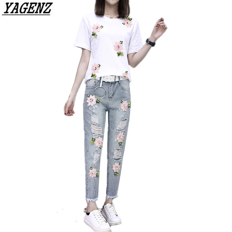 2017 Summer Women Embroidery Bead Sets Sportsing T-shirt+Hole Jeans Casual Two-piece Fashion Suit Lovely Student Clothes YAGENZ