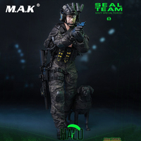 For Collection 1/6 Scale Full Set 12'' Soldier US Special Forces Navy SEAL Team B HALO with Dog Model for Fans Gifts