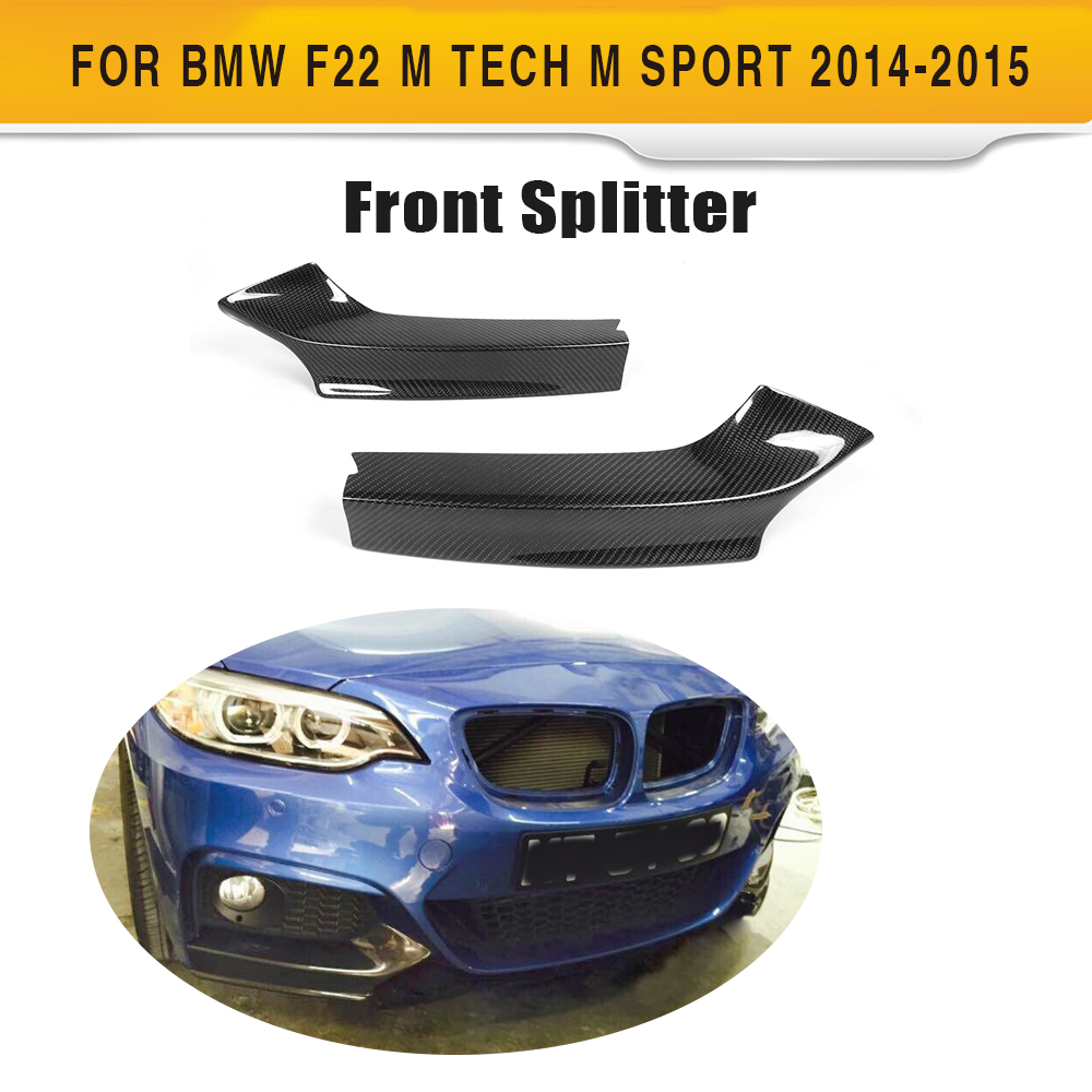 2 Series Carbon Fiber Front Bumper Splitters lip spoiler For BMW F22 M Sport Coupe 2014-2017 Convertible M235i M240i xDrive 2 series carbon fiber car front bumper lip spoiler for bmw f22 m sport coupe only 14 17 convertible 220i 230i 235i 228i p style