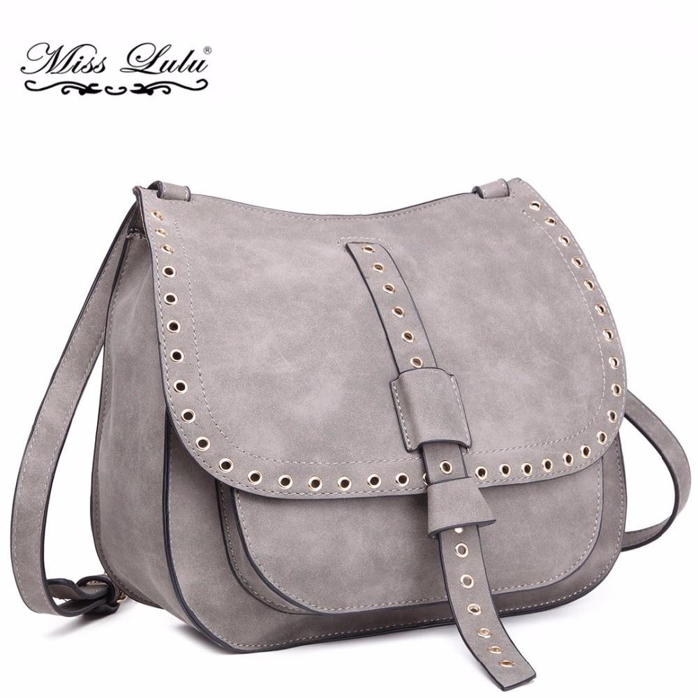 dc6da15894 Miss Lulu Women Suede Leather Messenger Bags Ladies Cross Body Shoulder  Bags Girls Saddle Satchel Bag Grey School Bags LT1727