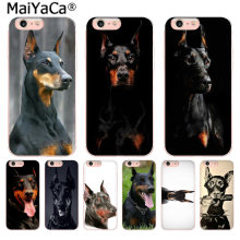 MaiYaCa Preto animal Doberman Pinscher Cão Acessórios do telefone capa para iPhone 5 8 7 6 6 s Plus X 10 5S SE 5C XS XR XS MÁXIMA cobertura(China)