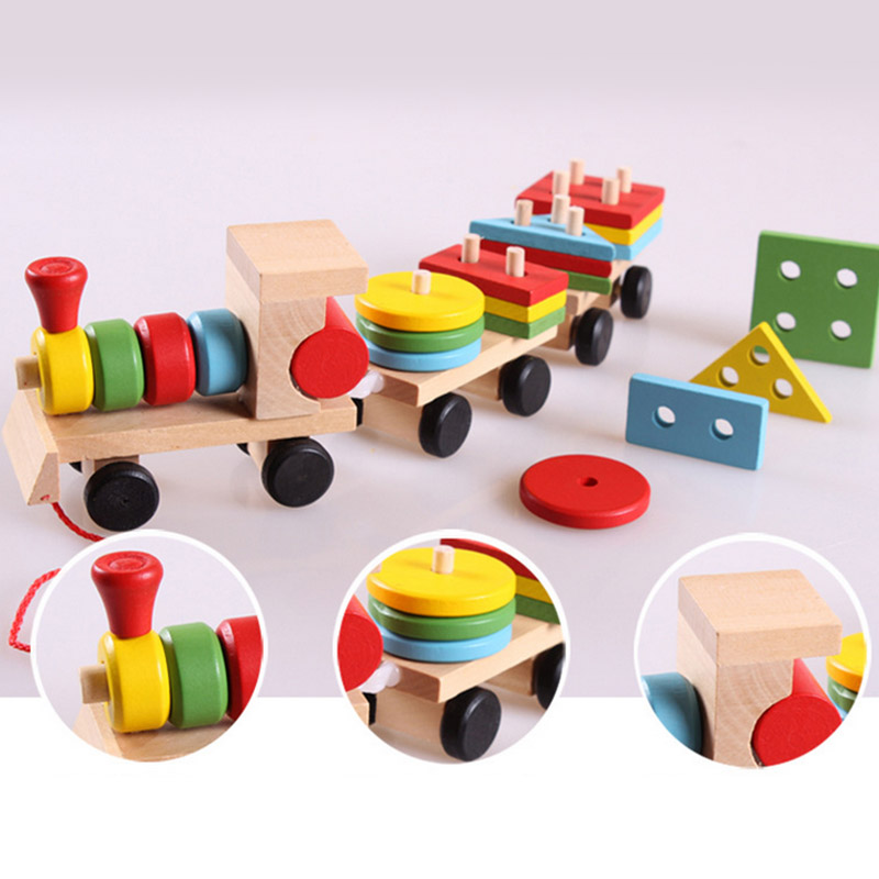 Baby Wooden Toys Geometry Train Toys For Children Puzzle ...