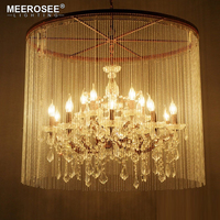 Vintage Crystal Chandelier Light Rust Luminaires Hanging Lighting for Restaurant Hotel American Drop Lamparas