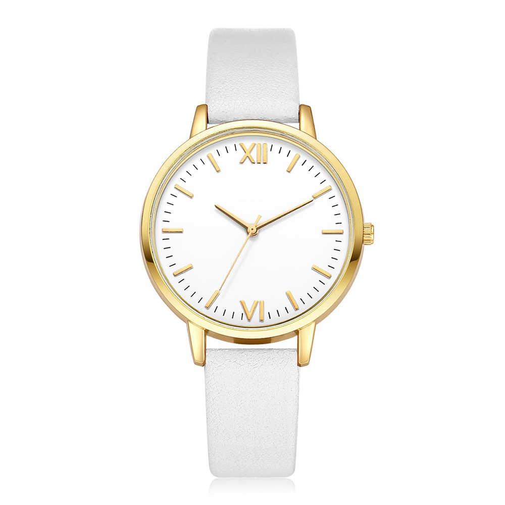 Rzym kobiety skórzany pasek analogowy zegarek kwarcowy kobiety zegarki moda sukienka na rękę