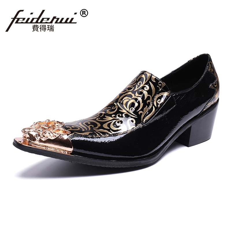 Plus Size Pointed Toe Slip on Handmade High Heels Man Wedding Party Loafers Patent Leather Mens Runway Punk Rocker Shoes SL189Plus Size Pointed Toe Slip on Handmade High Heels Man Wedding Party Loafers Patent Leather Mens Runway Punk Rocker Shoes SL189