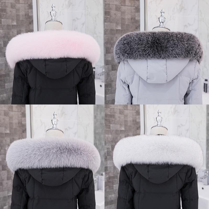 ZDFURS* Real Fox Fur Collar Down Coat Fur Collar Hood Trimming Collar Fur Fox Women Winter