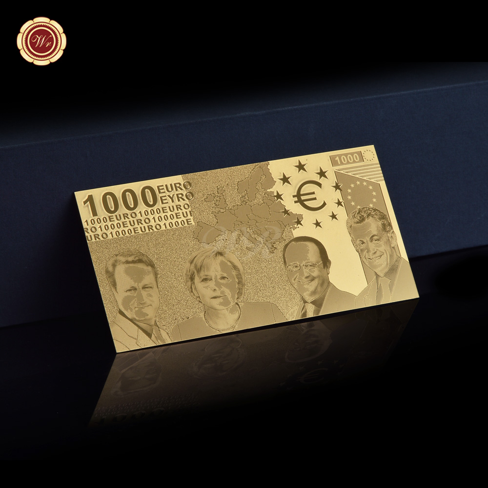 Fake <font><b>Euro</b></font> Notes <font><b>Banknote</b></font> <font><b>1000</b></font> <font><b>Euro</b></font> Plated Gold <font><b>Banknote</b></font> Nice Decor Gifts image