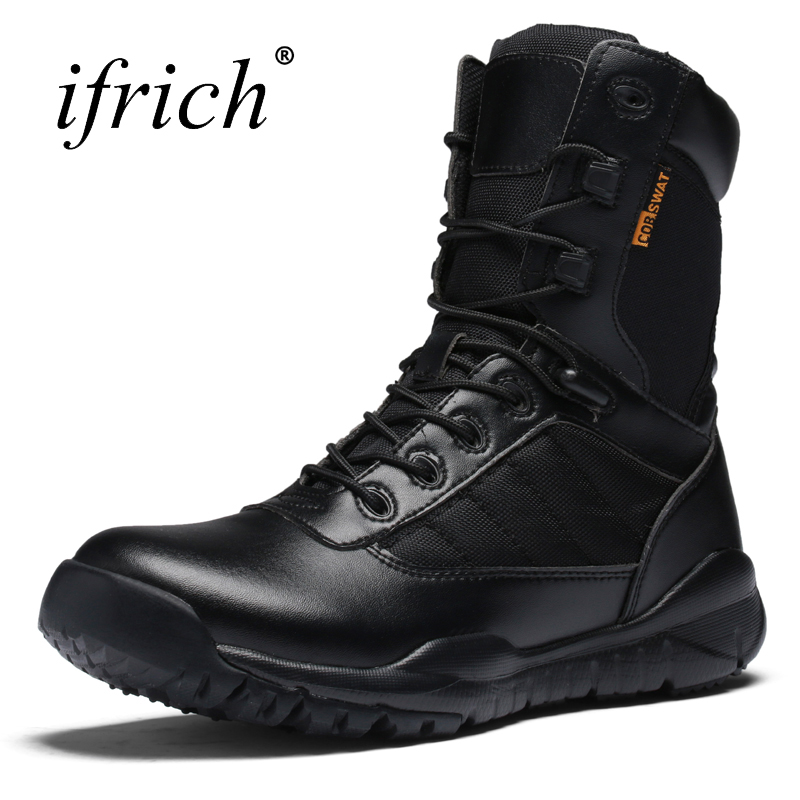 2017 New Mens Mountain Boots Black Hiking Shoes High Top Outdoor Trekking Sneakers Leather Army Boots Breathable Camping Shoes kelme 2016 new children sport running shoes football boots synthetic leather broken nail kids skid wearable shoes breathable 49