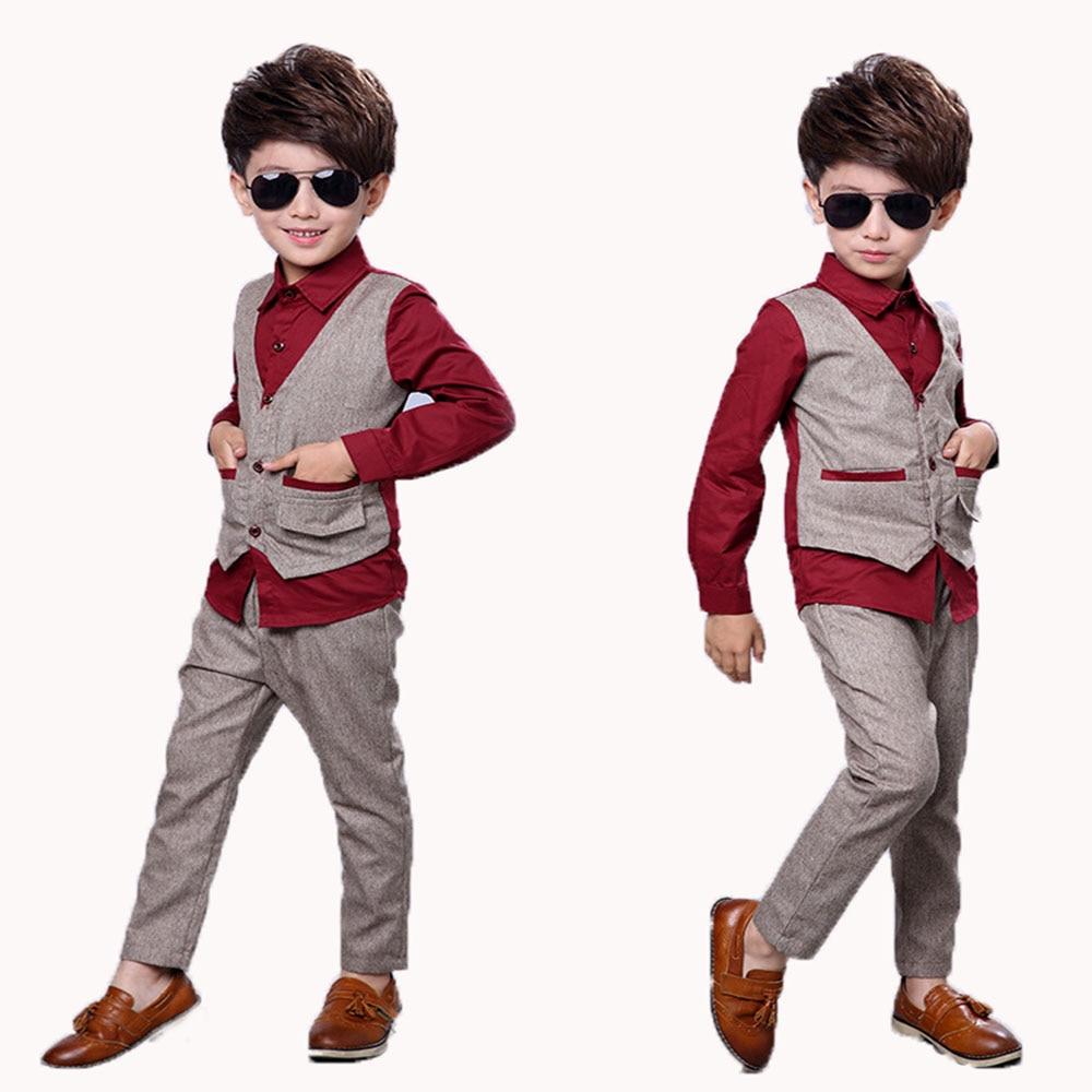 1 Set Child Dress Suits Age 2 10t Boy Clothing Sets Vest Pant Kids