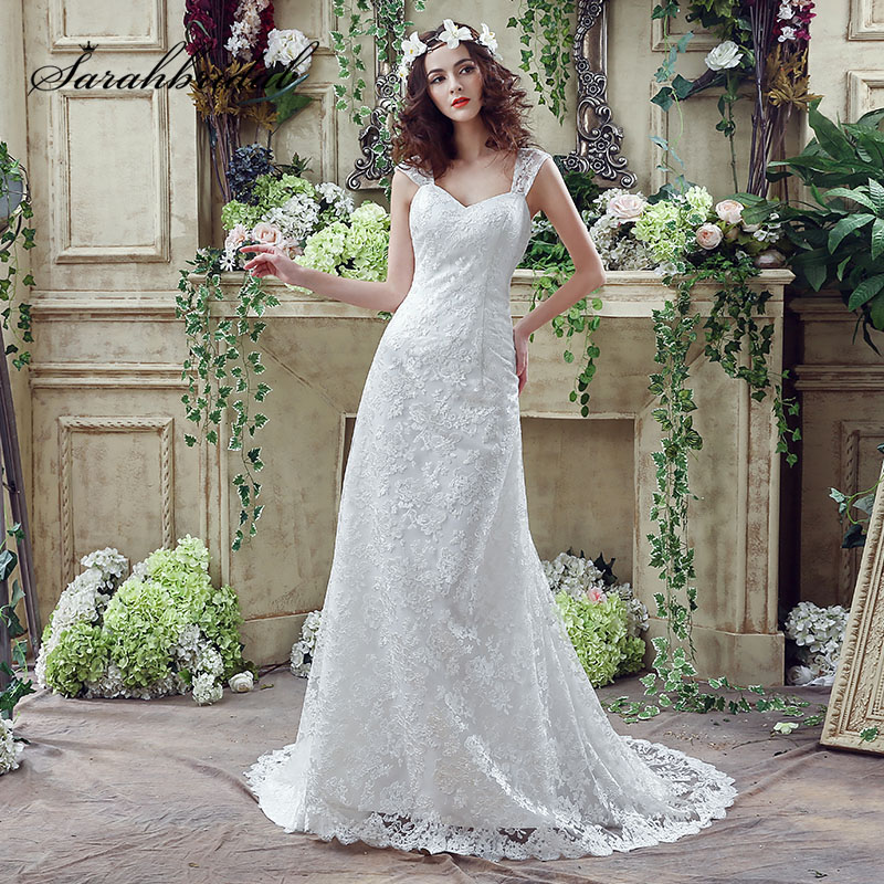 Simple White Sheath Wedding Dresses Sexy V-Neck Cap Sleeve Lace Up Back Bridal Gowns Cheap Romantic Long Wedding Dress SQS042