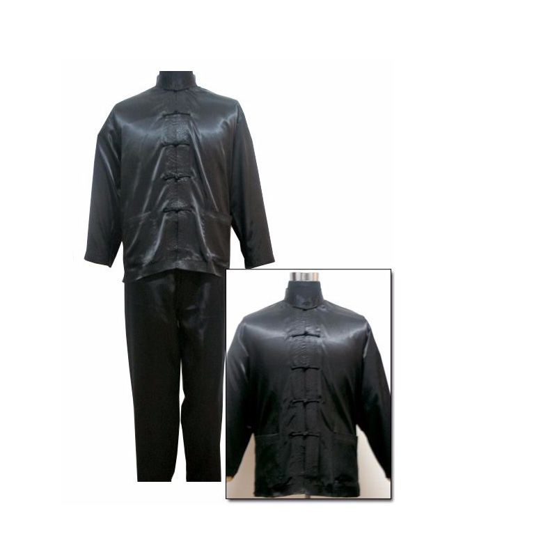 Black Traditional Chinese Men's Satin Wu Shu Uniform Long Sleeve Shirt & Pant Kung Fu Tai Chi Suit S M L XL XXL 011310