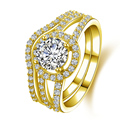 AINUOSHI 10K Solid Yellow Gold Women Wedding Rings Set 1 ct Round Simulated Diamond Halo Anillos Bijoux Femme Engagement Band