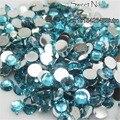 1000 pcs 3mm Water Blue 14 Facets Resin Round Rhinestone Sparkling Rhinestones Nail Art Decoration DIY N08