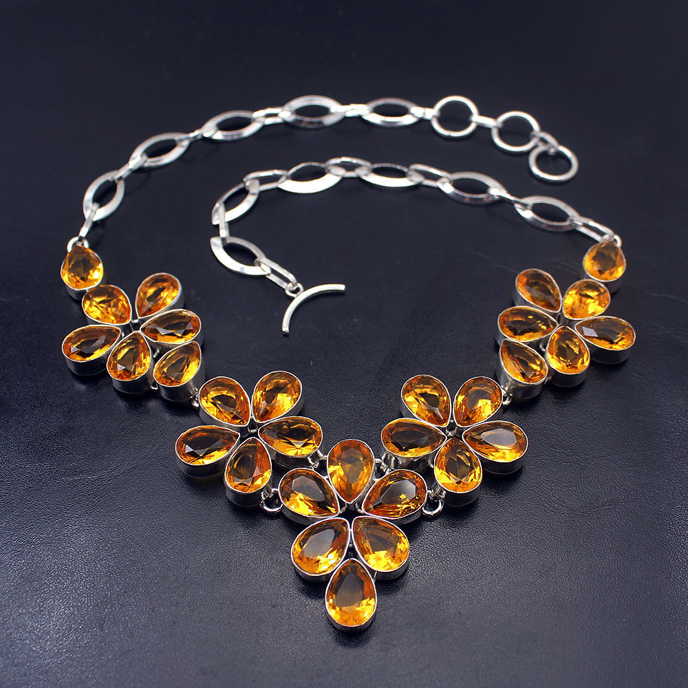 Cocktail Passion Hermosa Prom Gifts Yellow Citrine925 Sterling Silver Necklace Choker Necklaces 19 Inch BN10