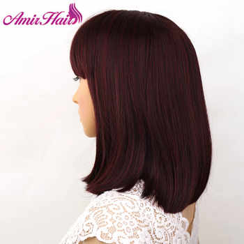Amir Straight Hair Bob Wigs Short Synthetic Hair Wigs For Black Women High temperature Fiber Black ,brown burgundy colors