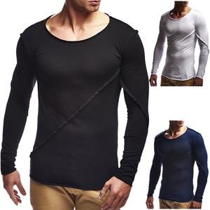 Мужская облегающая хлопковая футболка с длинным рукавом