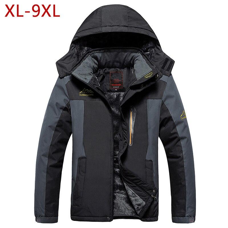 XL-9XL Big Size Men Thick Fleece Hooded Jacket Autumn Winter Male Thicken Warm Outwear Windbreak Waterproof Varsity Coat CF18