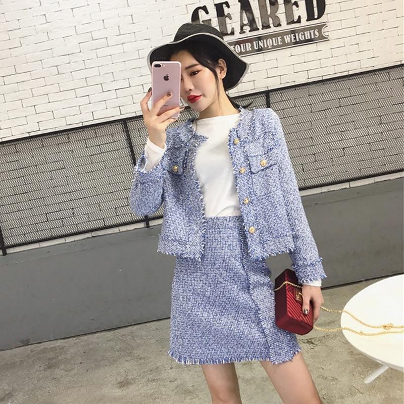 CBAFU New Fashion Women Suits Long Sleeve Elegant Jacket Tassel Skirt Suit Women 2 Piece Set Tweed Skirt Coat Suit N853
