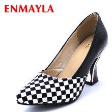 ENMAYER pointed toe 2015 platform pumps square heels fashion elegant women two colors size 34-44 party shoes for ladies