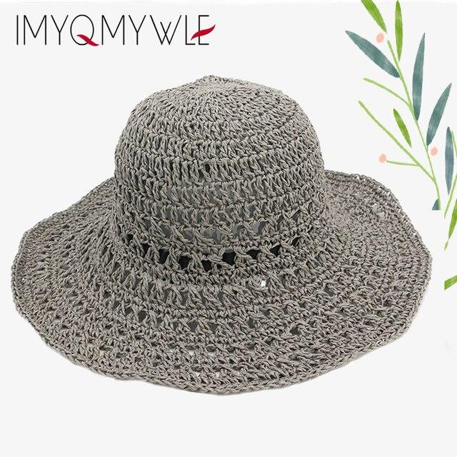 Handmade Women Sun Straw Hat Ladies Beach Wide Brim Hat Breathable Summer  Hats For Women Girl Summer Sunhat Wholesale WH501 1870a1c46ac5