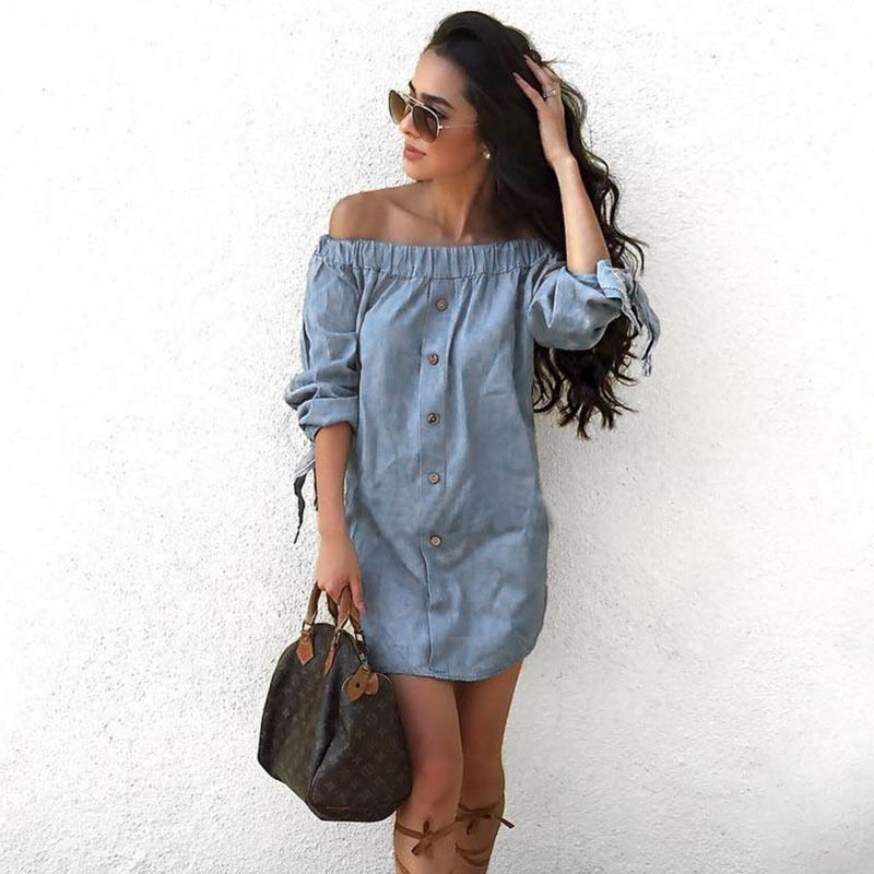 women off shoulder mini dress denim jeans women tunic