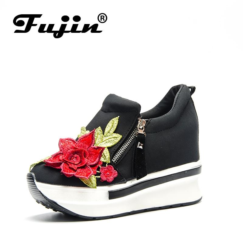 Fujin marque plate-forme Wedge strass chaussures vulcaniser pour les femmes de mariage cristal bling plate-forme 2019 été épais sans lacet