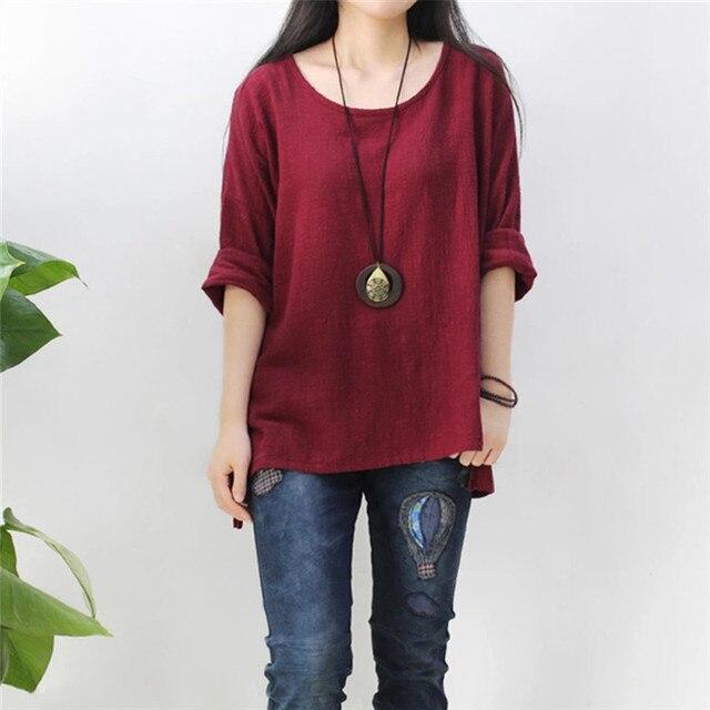 126839cc13b Jinggton 2017 Women Crewneck Long Sleeve Casual Loose Tops Red loose Shirt  Blouse Plus Size dropshipping