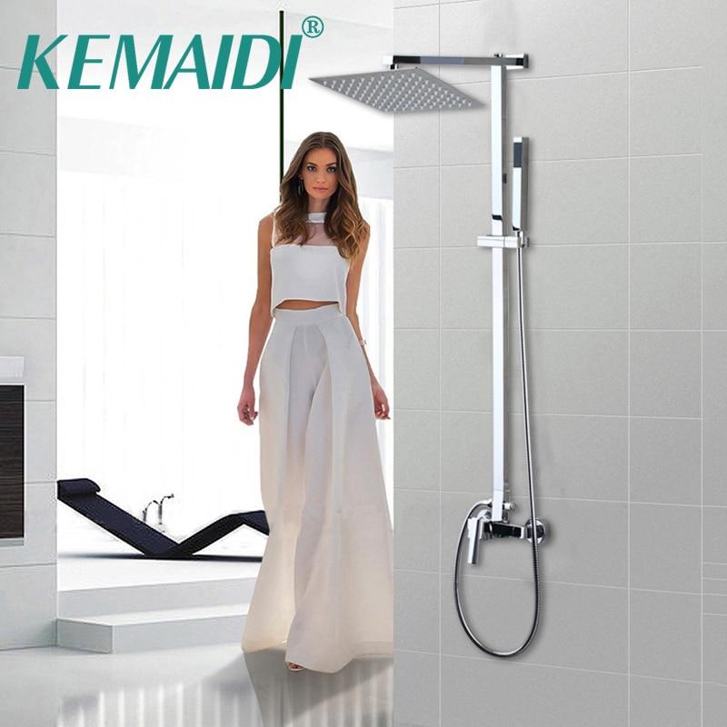 KEMAIDI Bathtub Mixer Bathroom wall Mount Shower Set + Control Valve Hand Sprayer 8 Inch Shower Head Set Bathroom Faucet kemaidi bathroom 10 led chrome shower faucet set thermostatic valve mixer tap w 6 message jets 50102b shower set