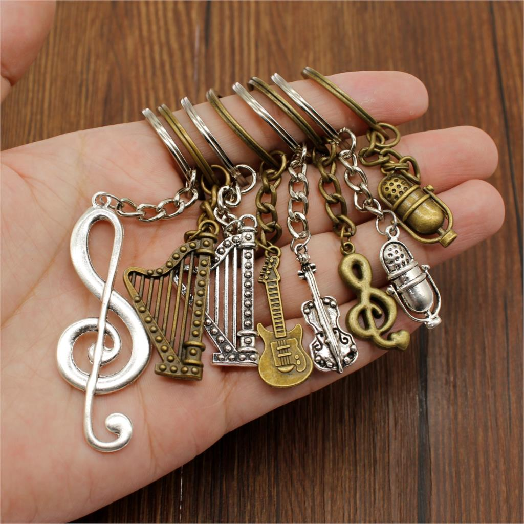 Guitar Keychain Accessory Keys Musical Instrument Funny Car Keychain DIY Handmade Jewelry Key Chains Holder Souvenir For Girls image