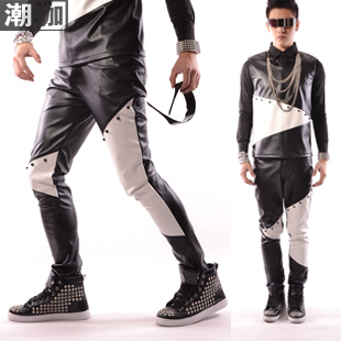 Fashion Korean new style male singer black-and-white PU patchwork rivet trousers casual pants men's pants costume DJ show