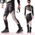 Moda de corea nuevo estilo cantante para hombre blanco y negro de la PU del remiendo pantalones remache pantalones pantalones de hombre traje DJ mostrar