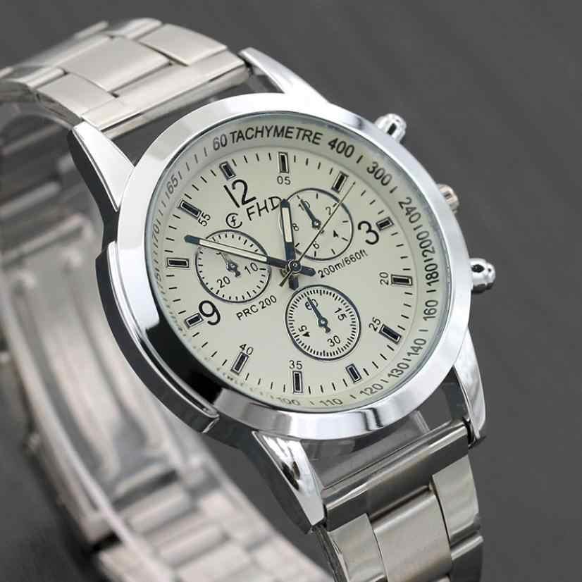 Reloj de 2019 para hombre, nueva marca de moda, fecha, lujo, diseño Retro, acero inoxidable de alta calidad, plata, Erkek Kol Saati