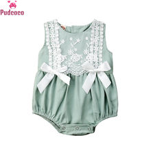 Summer Infant New Born Clothes Baby Girl Romper Lace Ruffles Jumpsuit Cute Bow Knot Sunsuit Baby Onesie Ropa Bebe new 2017 ropa bebe branded summer quality 100
