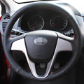 Hand-stitched Black Leather Steering Wheel Cover for Hyundai Solaris Verna I20 Accent