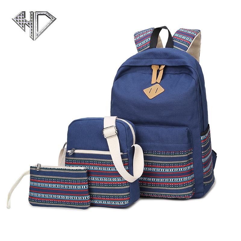 2017 Canvas Backpack Women School Backpacks Bag for Teenage Girls Vintage Laptop Rucksack Bagpack Female Schoolbag Mochila a Set