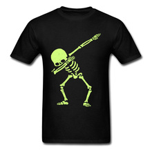 Naked Dabbing Skeleton Tshirt Bright Colors Happy Jazz DJ Rock Skull T Shirt For Men Hipster Metal Band T-Shirts