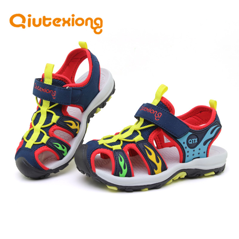 QIUTEXIONG Children Sandals Kids Summer Shoes For Boys Sandals Beach Shoe Mesh Breathable Soft Leather Kids School Sport Sandals