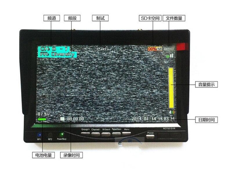 TS832 600 mW transmisor inalámbrico sistema PAL Servo 2 ejes cardán Cámara una máquina 7 800*480 RC732 DVR pantalla LCD TFT - 6