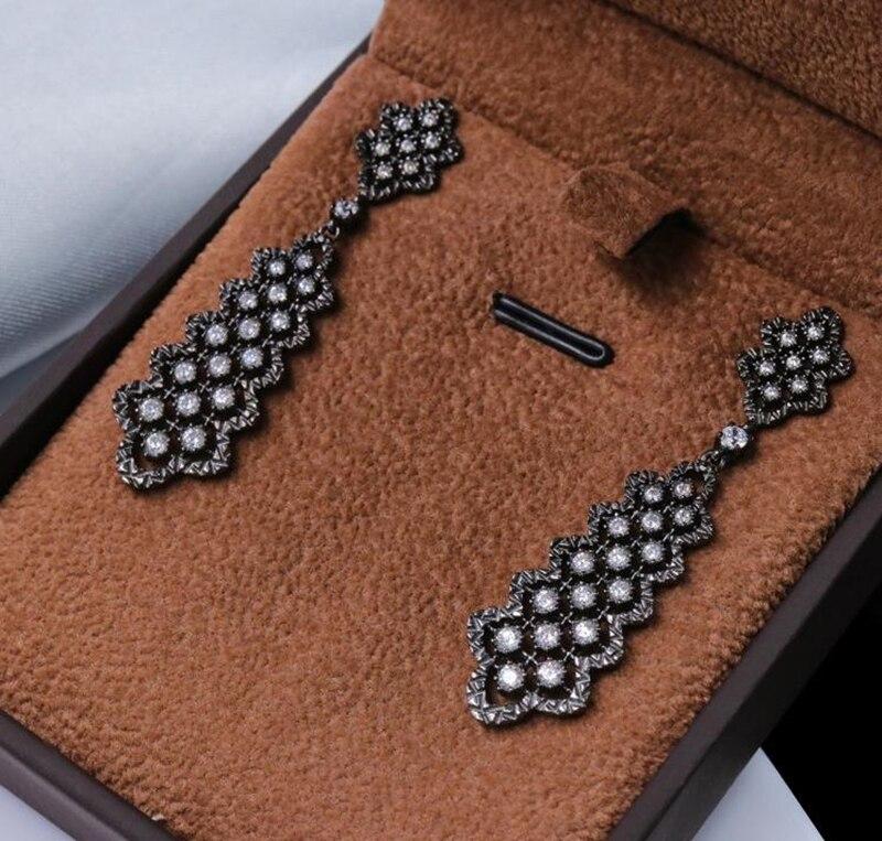 925 Sterling argent noir palais dentelle élégant boucles d'oreilles haute qualité CZ boucle d'oreille couleur or BlingBling boucle d'oreille