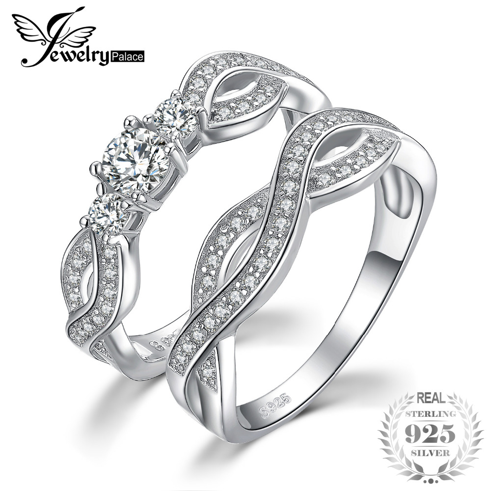 JewelryPalace Infinity 3 Stone 1ct Cubic Zirconia Promise Wedding Band Engagement Ring Bridal Sets 925 Sterling Silver