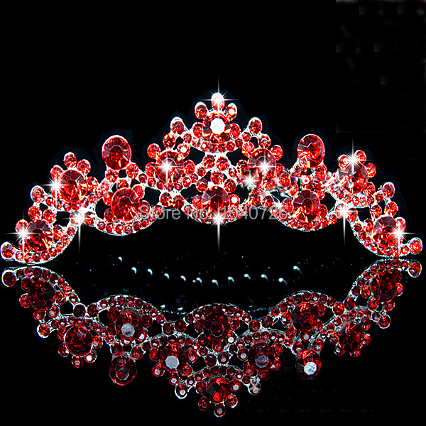 18K Gold Plated Sparkling Tiara Red Crystal Wedding Party Costume Hair Combs Jewelry - Blue Stone store