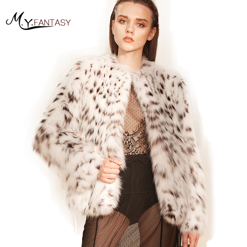 M.Y.FANSTY 2017 Rare White WildHigh Luxury Milan Line Mysterious Charmin BobCats Fur Coats Real Natural Fur O-Neck BobCats Coat